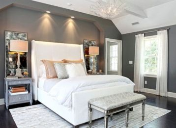 Unique white minimalist master bedroom design ideas 47