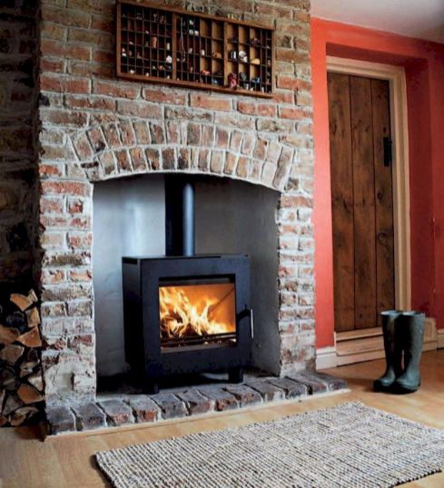 Attractive painted brick fireplaces ideas 02