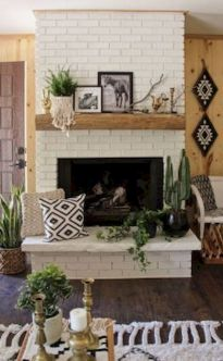 Attractive painted brick fireplaces ideas 18