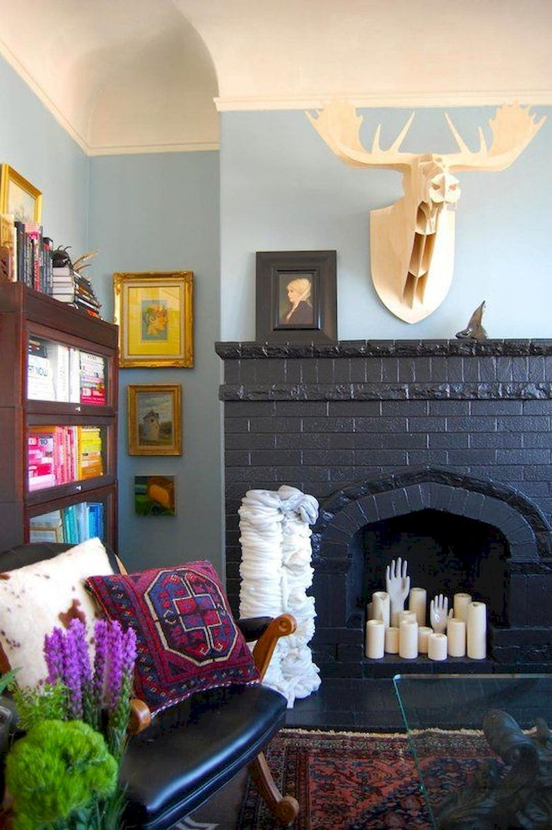 Attractive painted brick fireplaces ideas 30