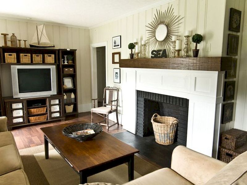 Attractive painted brick fireplaces ideas 32