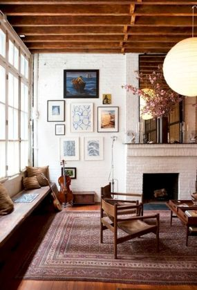 Attractive painted brick fireplaces ideas 36
