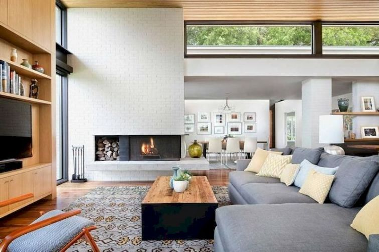 Attractive painted brick fireplaces ideas 38