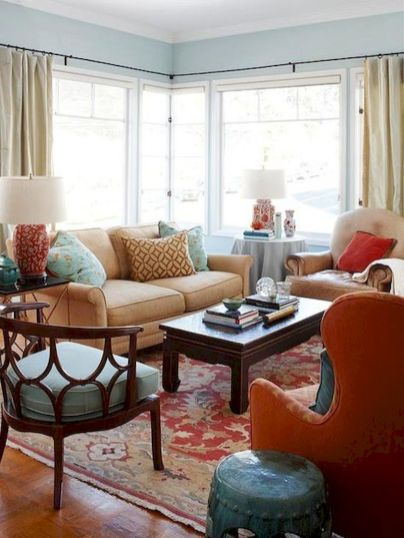 Awesome living room paint ideas by brown furniture 07