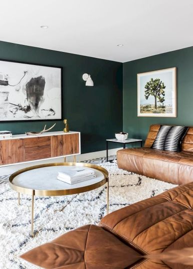 Awesome living room paint ideas by brown furniture 25