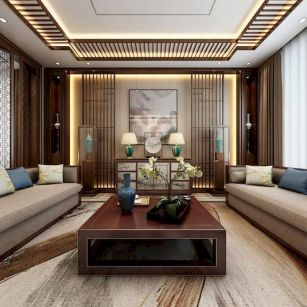 Impressive chinese living room decor ideas 18