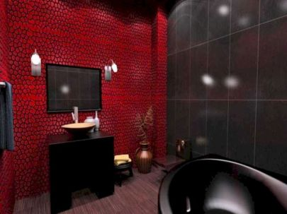 Magnificient red wall design ideas for bathroom 01