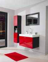 Magnificient red wall design ideas for bathroom 06