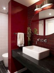 Magnificient red wall design ideas for bathroom 11