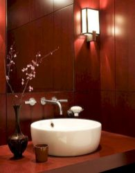 Magnificient red wall design ideas for bathroom 12