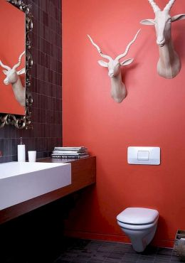 Magnificient red wall design ideas for bathroom 15