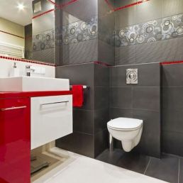 Magnificient red wall design ideas for bathroom 18