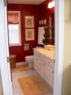 Magnificient red wall design ideas for bathroom 21