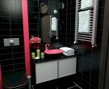 Magnificient red wall design ideas for bathroom 25