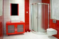 Magnificient red wall design ideas for bathroom 31