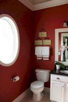 Magnificient red wall design ideas for bathroom 37