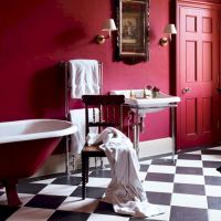 Magnificient red wall design ideas for bathroom 40