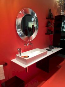 Magnificient red wall design ideas for bathroom 42