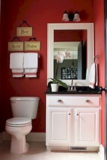 Magnificient red wall design ideas for bathroom 43