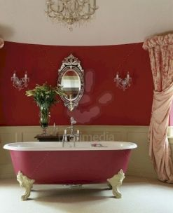 Magnificient red wall design ideas for bathroom 47