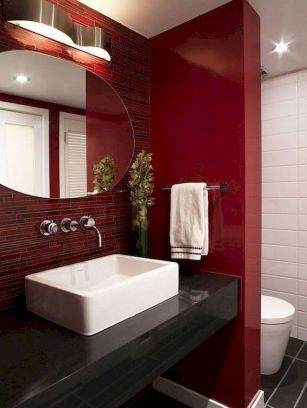 Magnificient red wall design ideas for bathroom 48