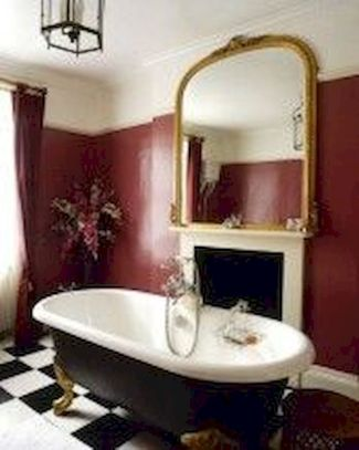 Magnificient red wall design ideas for bathroom 49