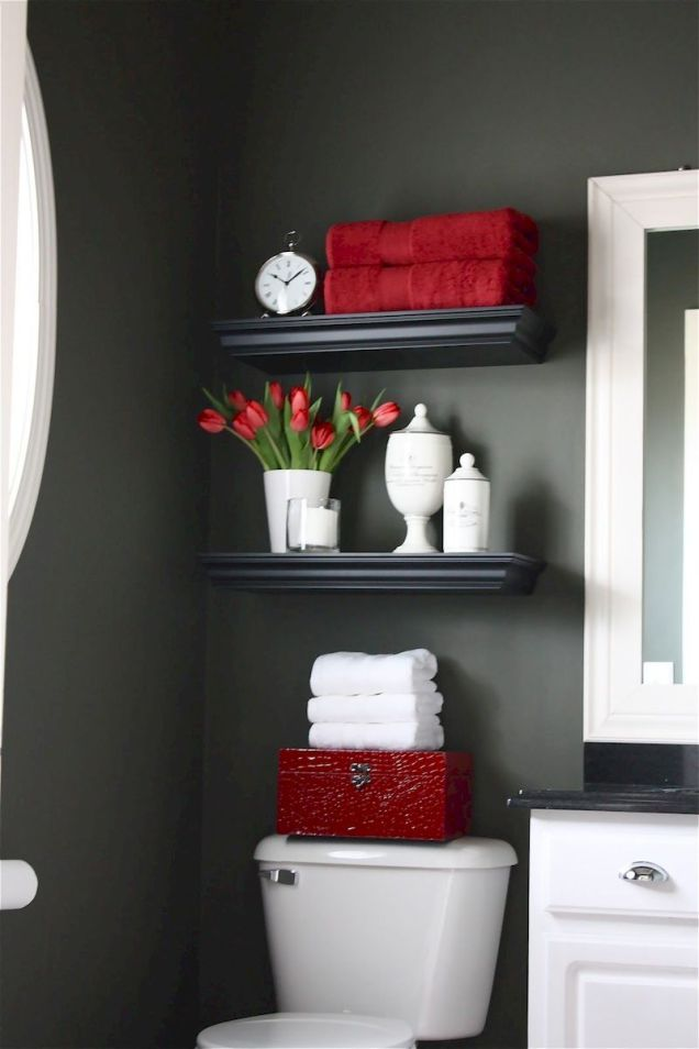 Magnificient red wall design ideas for bathroom 50
