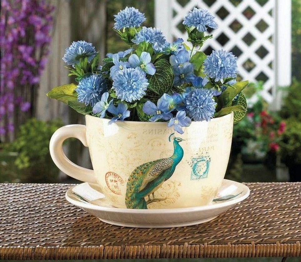 Impressive mini garden mug ideas to add beauty on your home 12