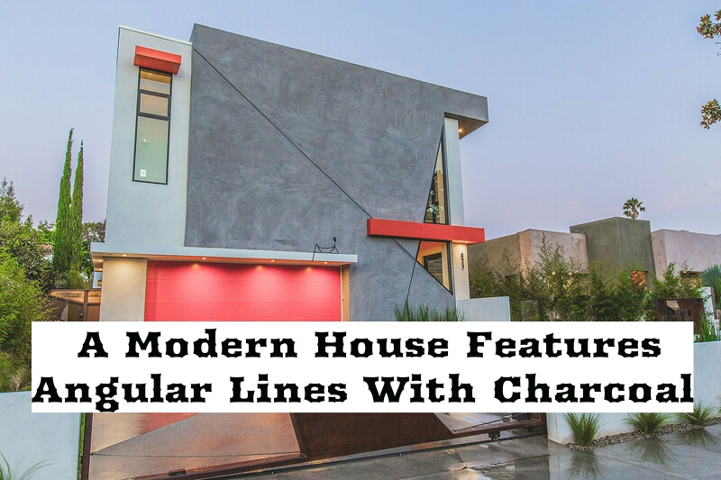 A Modern House Features Angular Lines With Charcoal