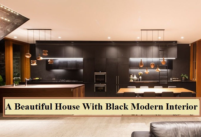 A beautiful house with black modern interior