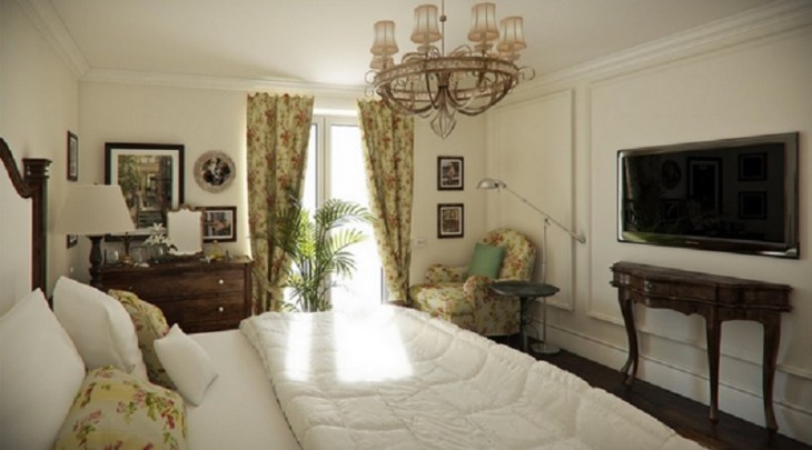 Printed-drapes-for-traditional-bedroom