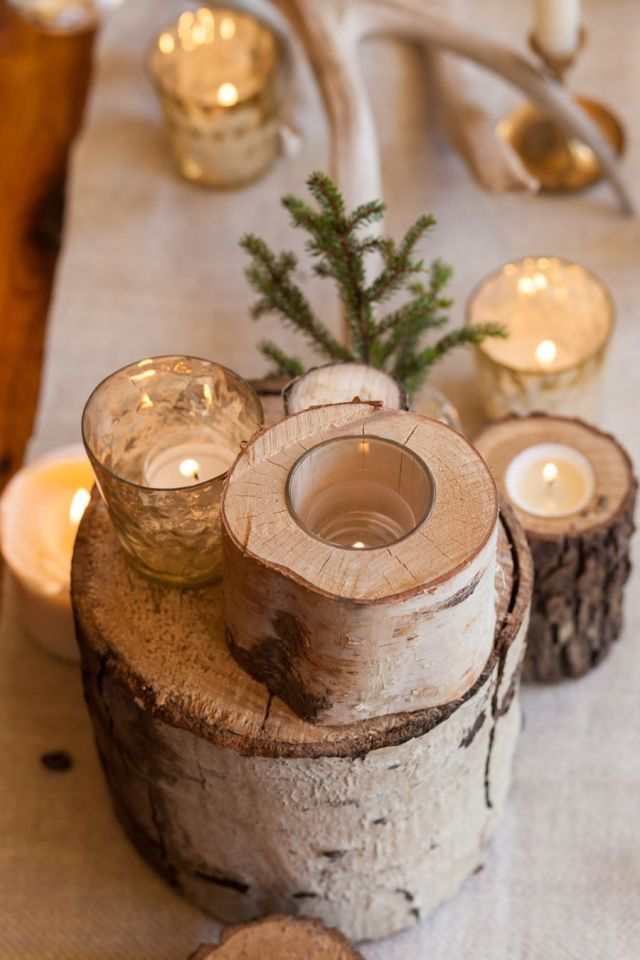 Birch log centerpiece Perfectly Impressive Winter Rustic Centerpieces Where Your Guest Can Not Deny