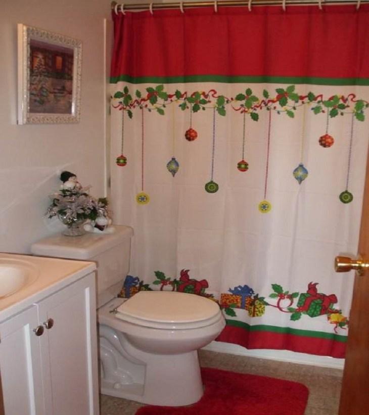 Christmas shower curtain Christmas bathroom accessories Unpredictable Brilliant Bathroom Ideas For Winter Christmas Season