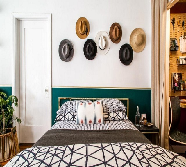 Chic hat display Roaring Above The Bed Decoration Ideas To Have A Fresher Look