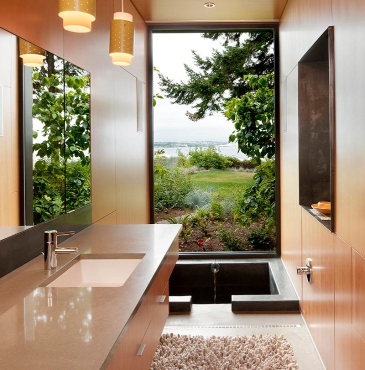 Comfy master bathroom with a sunken bathtub to get relax anytime 1