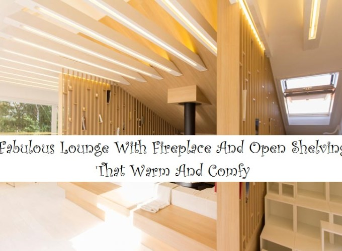 Fabulous lounge with fireplace and open shelving that warm and comfy