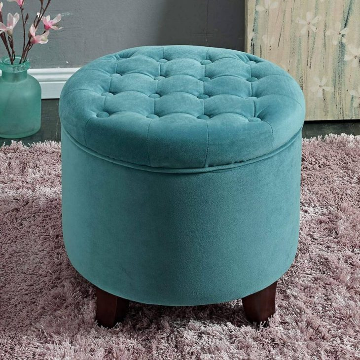 Round velvet tufted storage ottoman with lid Foremost Ottomans To Have Comfortable And Relaxing Spot