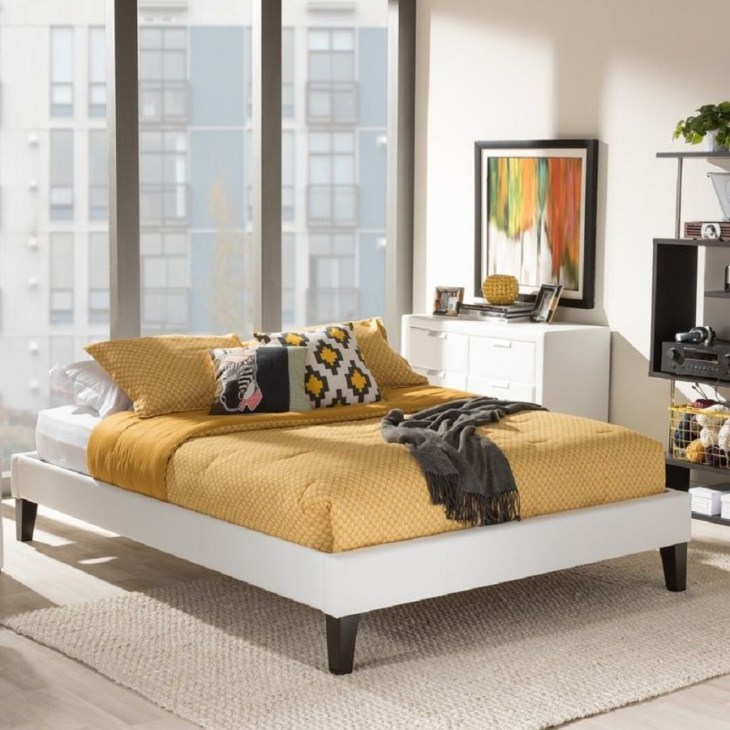 Leonidas modern white faux leather upholstered platform bed Hypnotize Bed Frames Where You Can Rest Easily With Style