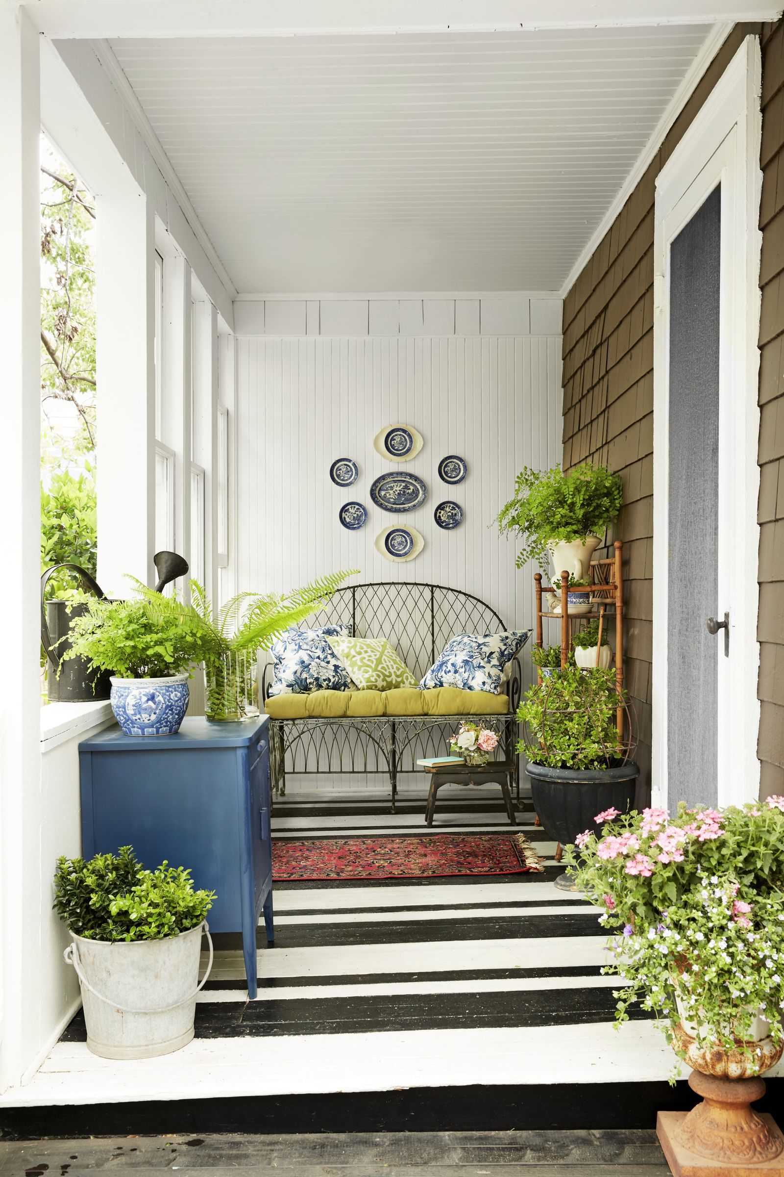 Black and white striped painted porch floor Pristine Painted Floor Ideas To Have A Masterpiece Presentation
