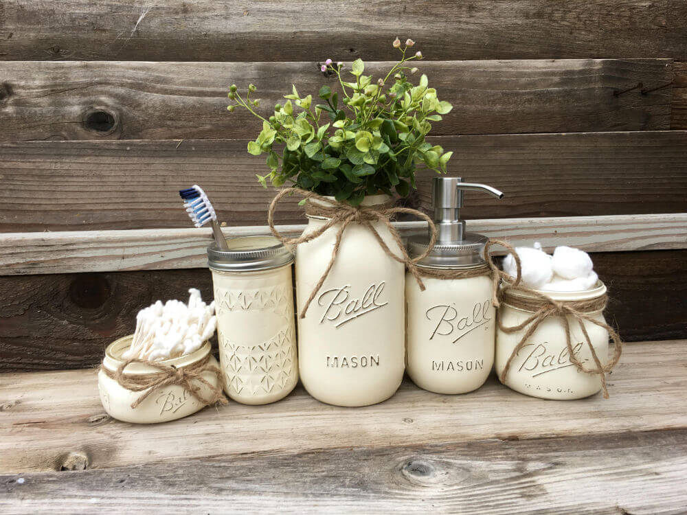Country home and heart mason jars https://homebnc.com/best-etsy-bathroom-accessories-ideas-to-buy/