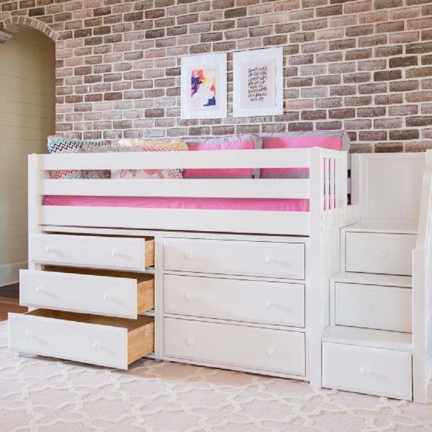 Loft bed with storage for kids