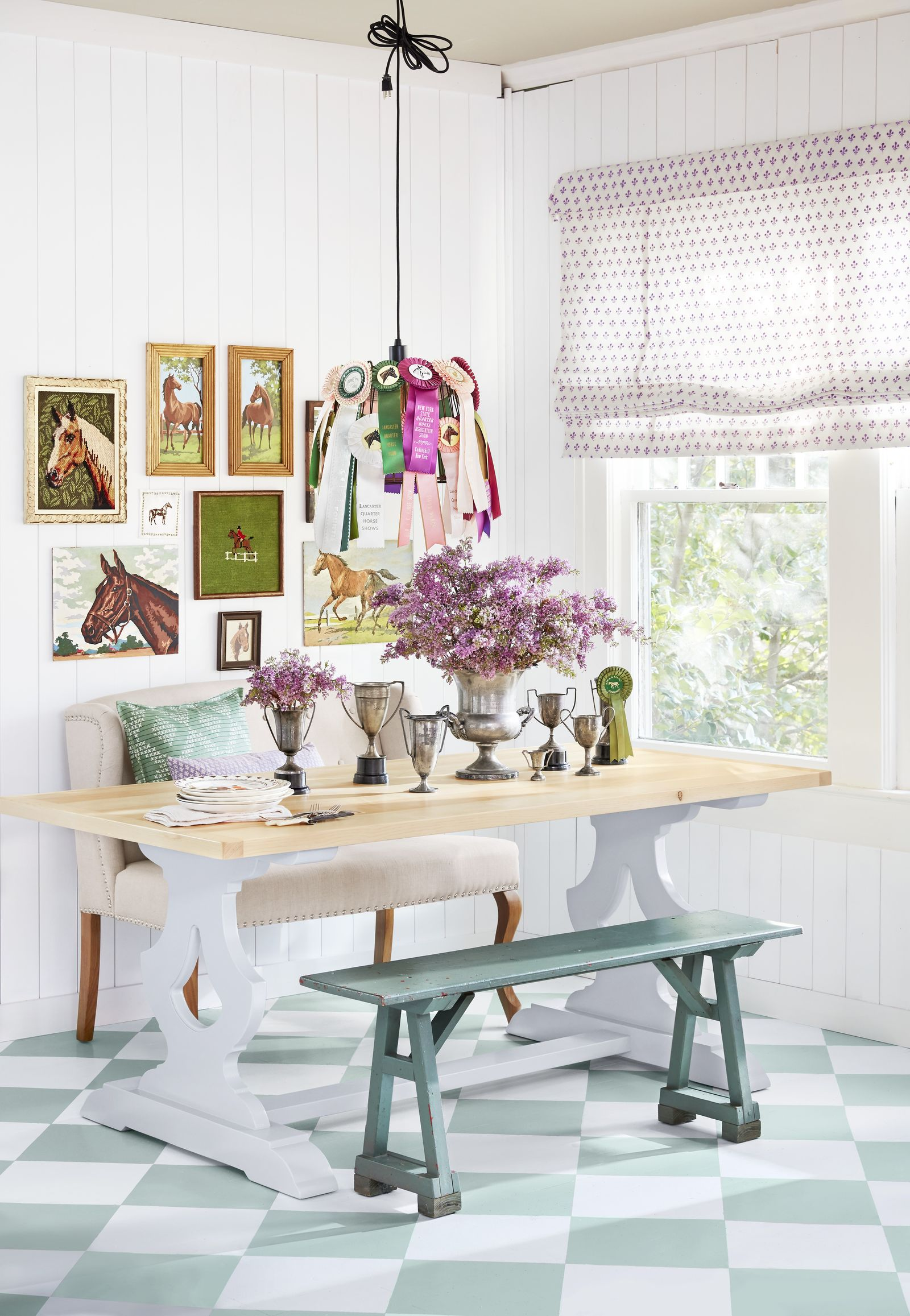 Mint green and white checkerboard painted floors Pristine Painted Floor Ideas To Have A Masterpiece Presentation