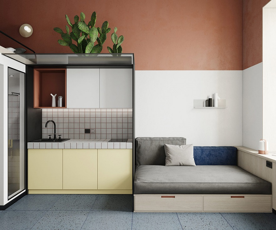 This super tight studio apartment looks fabulous for single living 2