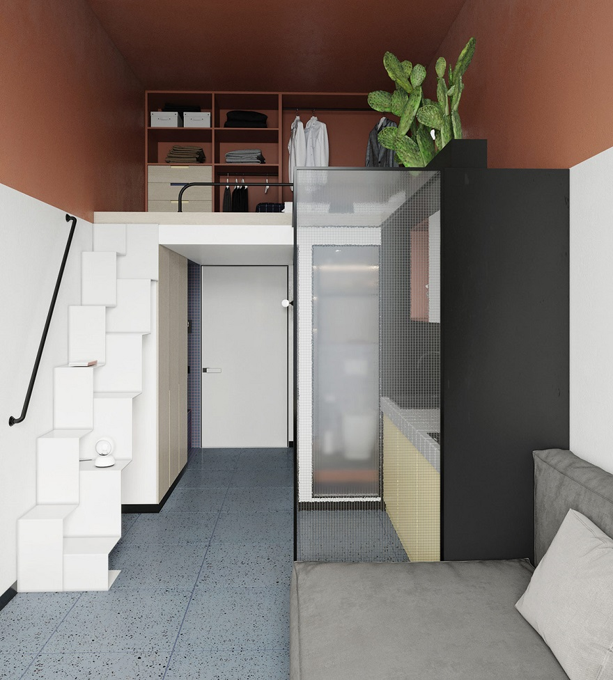 This super tight studio apartment looks fabulous for single living 4