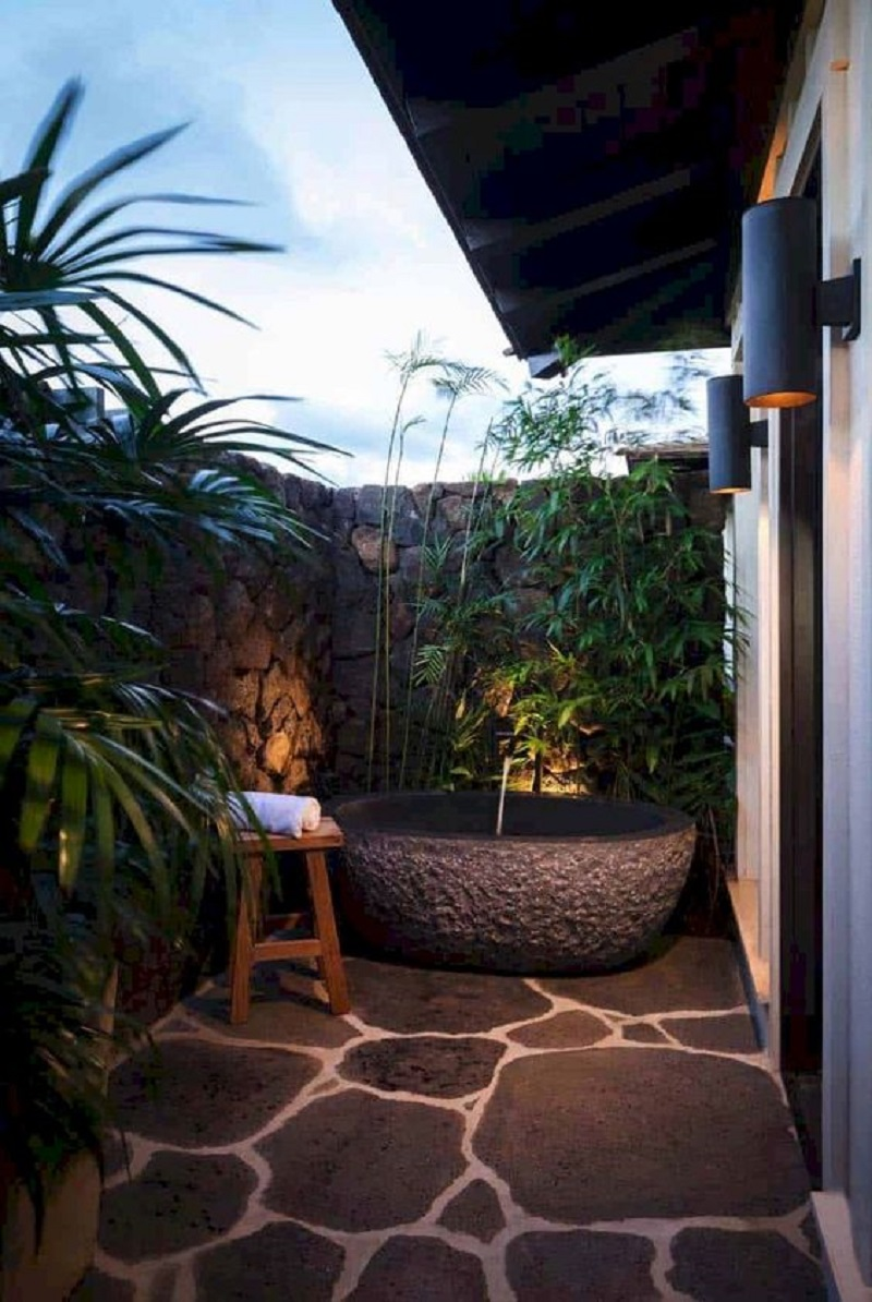 Tropical outdoor bathroom Never Been Better Outdoor Tubs For The Most Relaxing Soaking Session