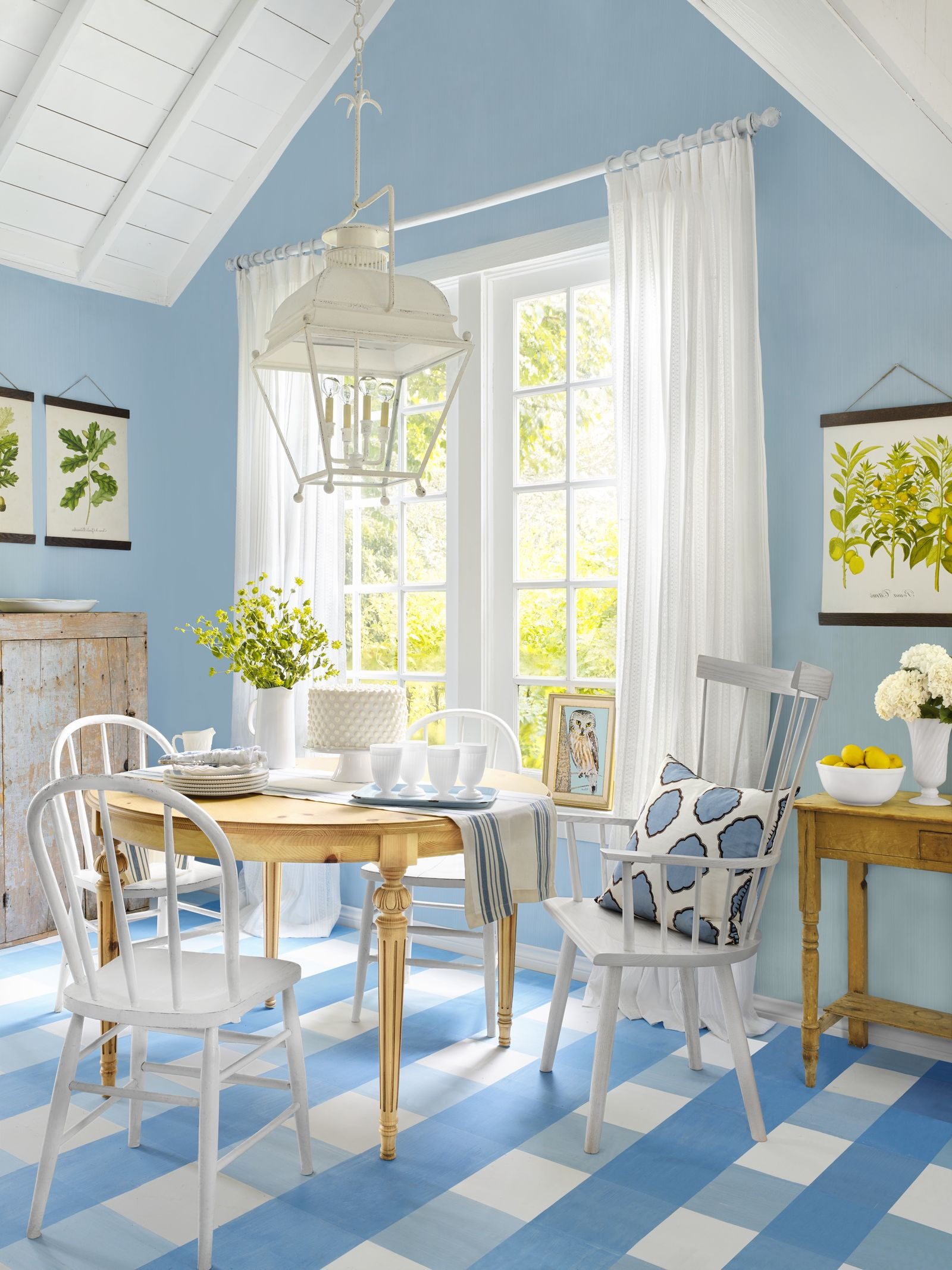 White and blue plaid painted floors Pristine Painted Floor Ideas To Have A Masterpiece Presentation