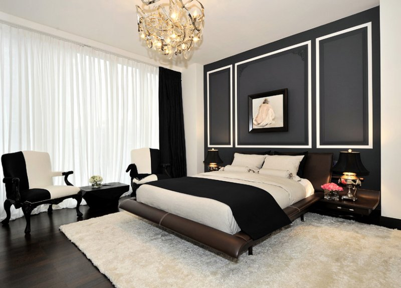 Black wall with white frame accents