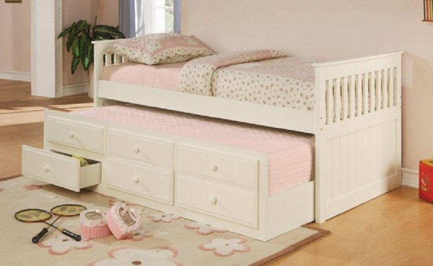 Girls-beds-white-trundle-with-drawers