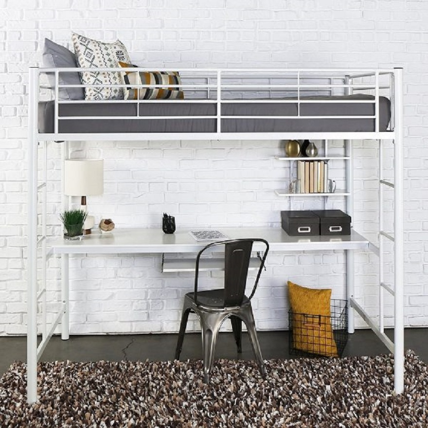 White-metal-inbuilt-bunk-bed-with-desk