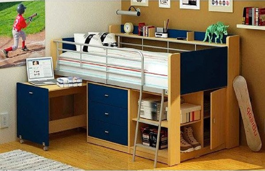 Wood-and-navy-kids-beds-with-storage